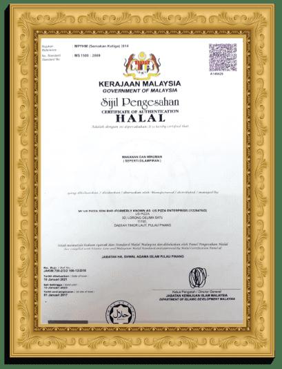 US Pizza Malaysia Halal Certificate