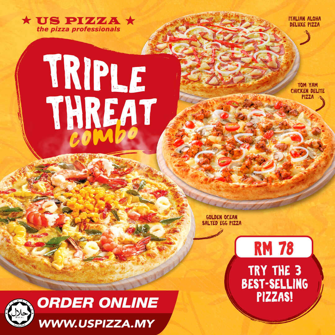 US Pizza Malaysia Promotion Triple Threat Pizza