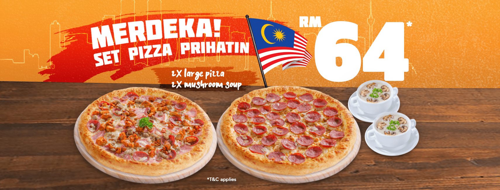 US Pizza Malaysia Promotion Buy 1 Free 2 Banner